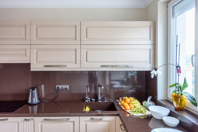 Modern kitchen interior. Appartement design Wide angle photo. Modern kitchen interior. Appartement design Wide angle stock images