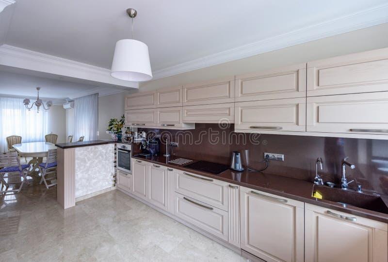 Modern kitchen interior. Appartement design Wide angle photo. Modern kitchen interior. Appartement design Wide angle stock photo