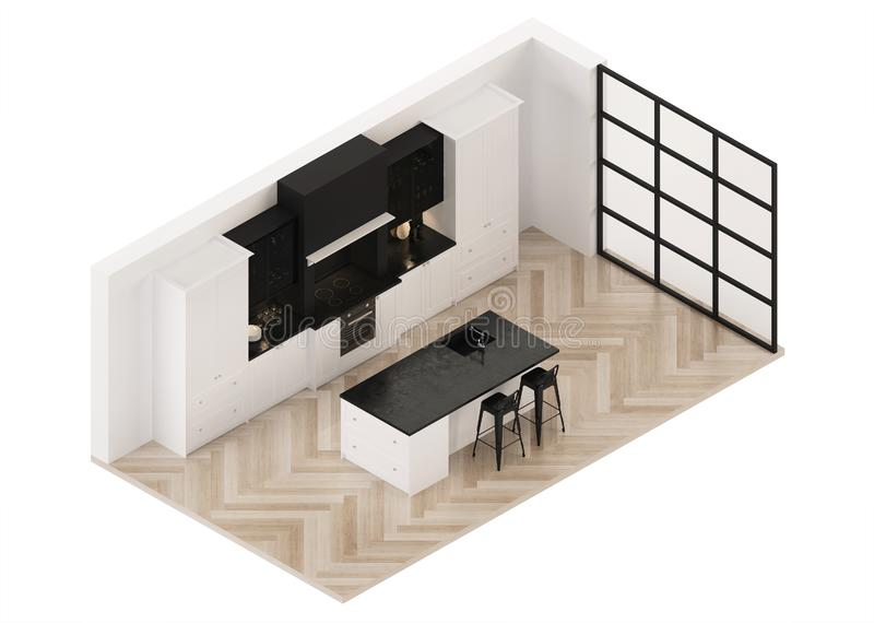 Modern kitchen interior. Modern classic. Orthogonal projection. View from above. stock photography