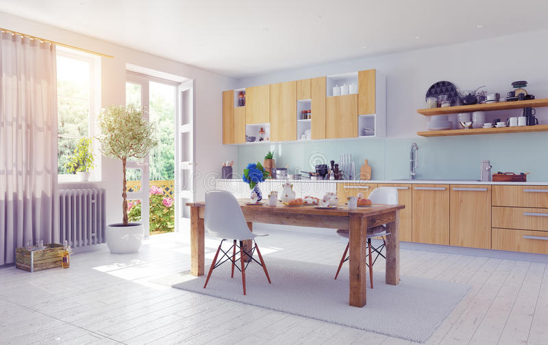 Modern kitchen interior royalty free illustration