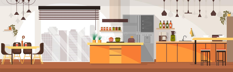 Modern Kitchen Interior Design Cartoon Vector stock illustration