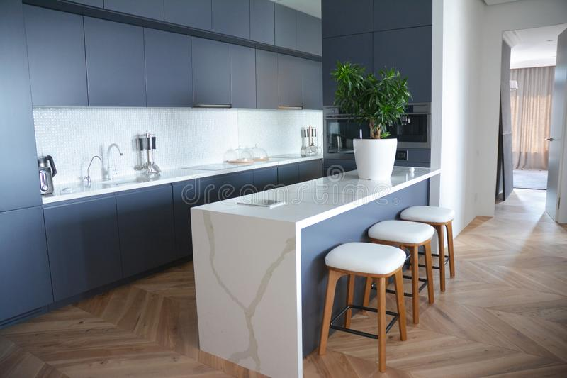 Modern kitchen interior design with hardwood floors in luxury home stock images