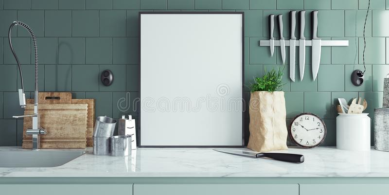 Modern kitchen interior with empty banner, mock up royalty free illustration