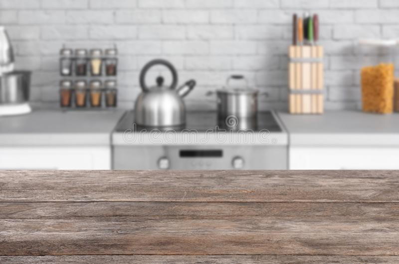 Modern kitchen interior with new furniture. And different utensils stock image