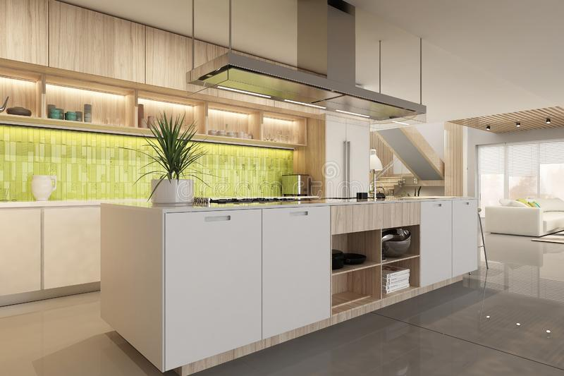 Modern white kitchen interior in scandinavian style stock image