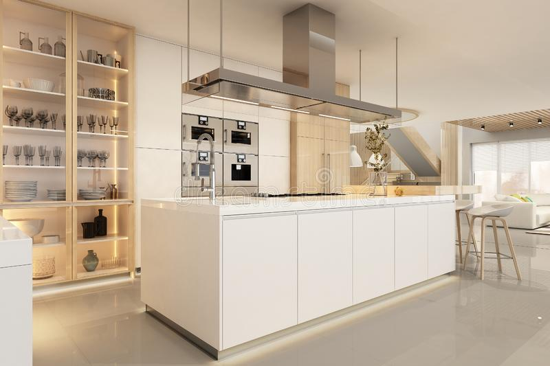 Modern white kitchen interior in scandinavian style royalty free stock images