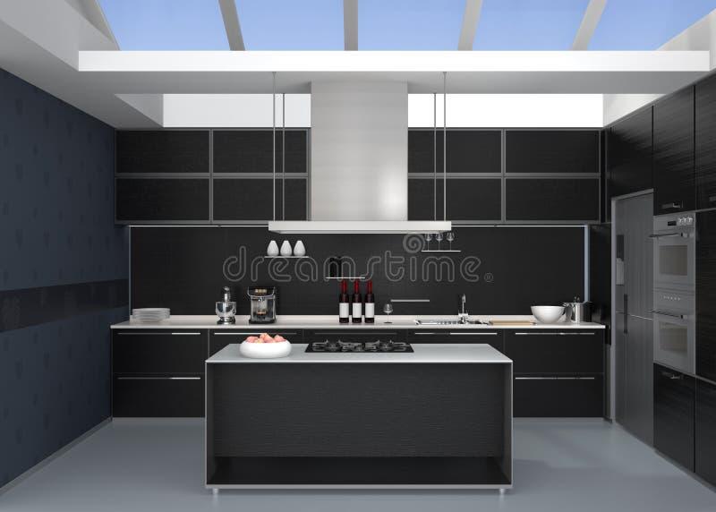 Modern kitchen interior with smart appliances in black color coordination. 3D rendering image stock illustration