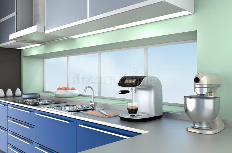 Modern kitchen interior with stylish coffee maker, food mixer. Modern kitchen interior with stylish coffee maker, food mixer and blue paint cabinets vector illustration