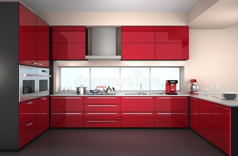 Modern kitchen interior with stylish coffee maker, food mixer. Modern kitchen interior with stylish coffee maker, food mixer and red paint cabinets stock illustration