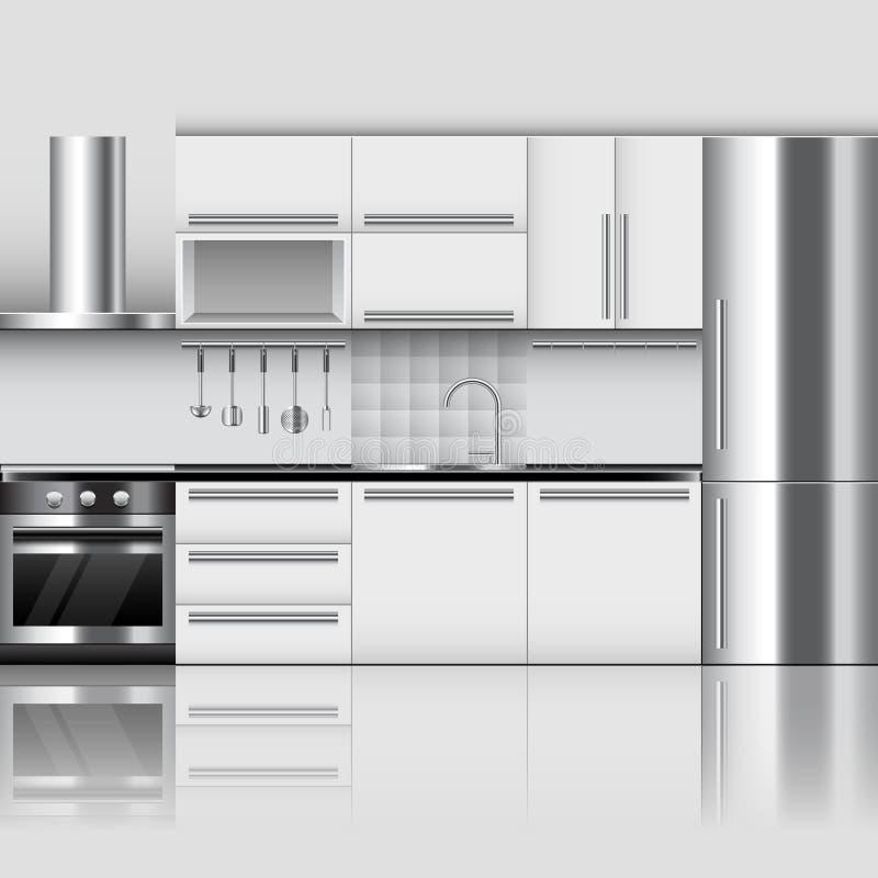 Modern kitchen interior vector background stock illustration
