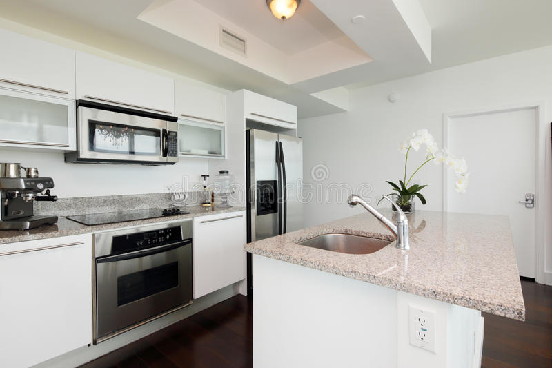 Modern kitchen with an island stock images