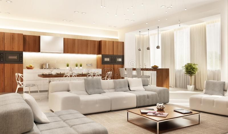 Modern kitchen and large living room stock images