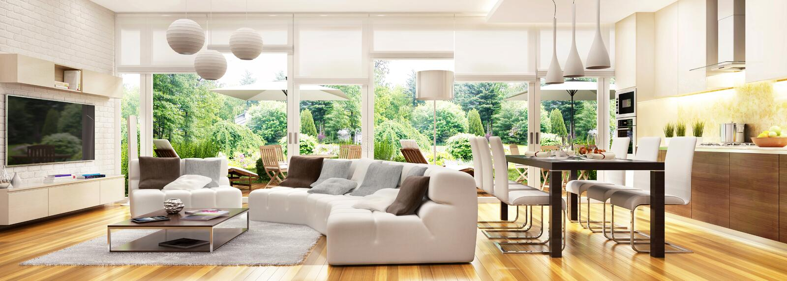 Modern kitchen and living room with access to the terrace. In beautiful home royalty free stock photos