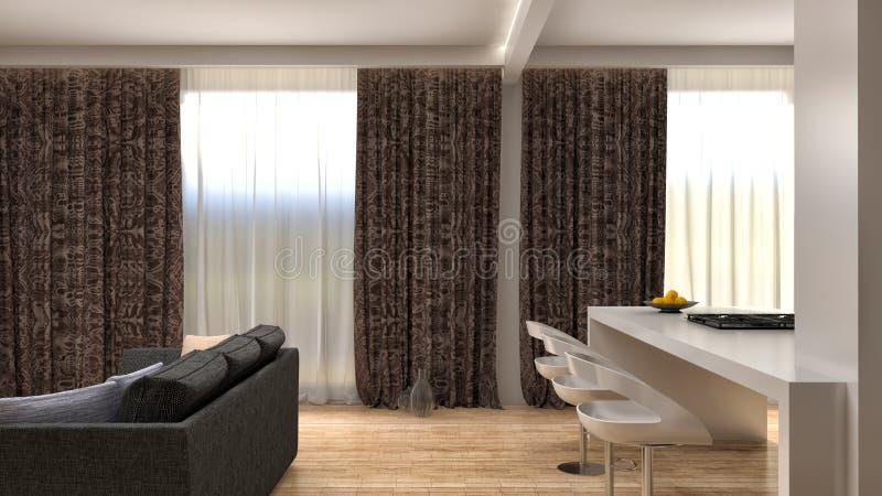 Modern kitchen and living room. 3d illustration royalty free illustration