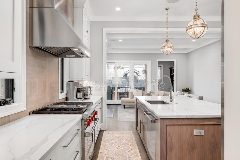A Modern Kitchen Looking Towards The Living Room Editorial Stock Photo Image Of Design Light 188068418