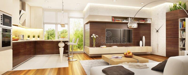 Modern kitchen in a luxurious interior stock photo
