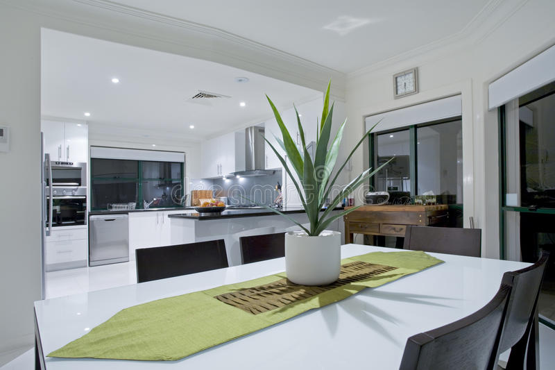 Modern kitchen in luxury mansion royalty free stock image