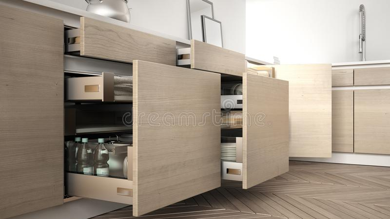 Modern kitchen, opened wooden drawers with accessories inside, s royalty free illustration
