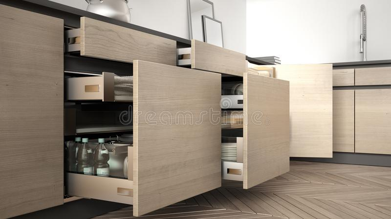 Modern kitchen, opened wooden drawers with accessories inside, s vector illustration