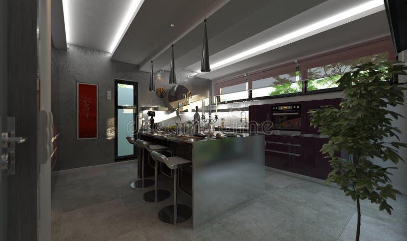 Download Modern kitchen render stock illustration. Illustration of open - 32465227
