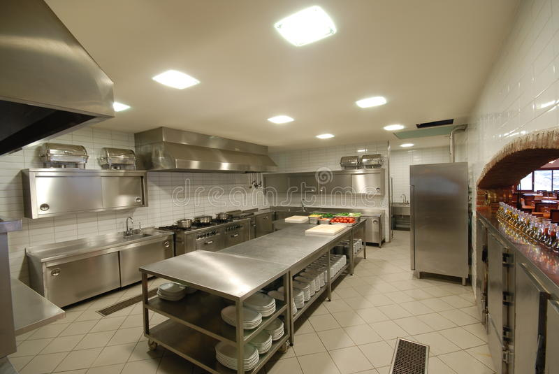 Modern kitchen in restaurant. Modern kitchen in a hotel or restaurant stock photos