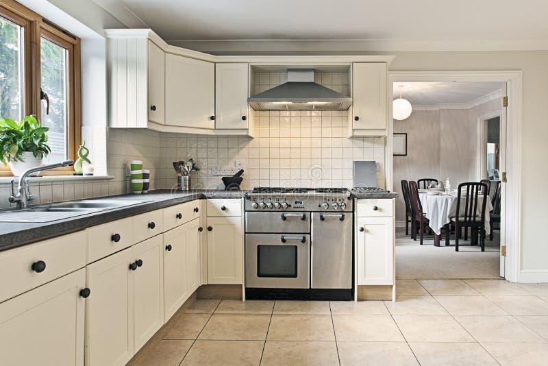Modern Kitchen. Shot of a Modern Kitchen with Cream Cabinets stock photos