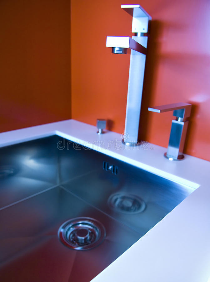 Modern kitchen sink royalty free stock photos