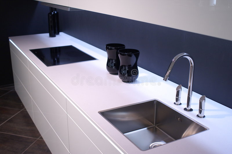 Modern kitchen sink stock image. Image of lunch, room - 3813825