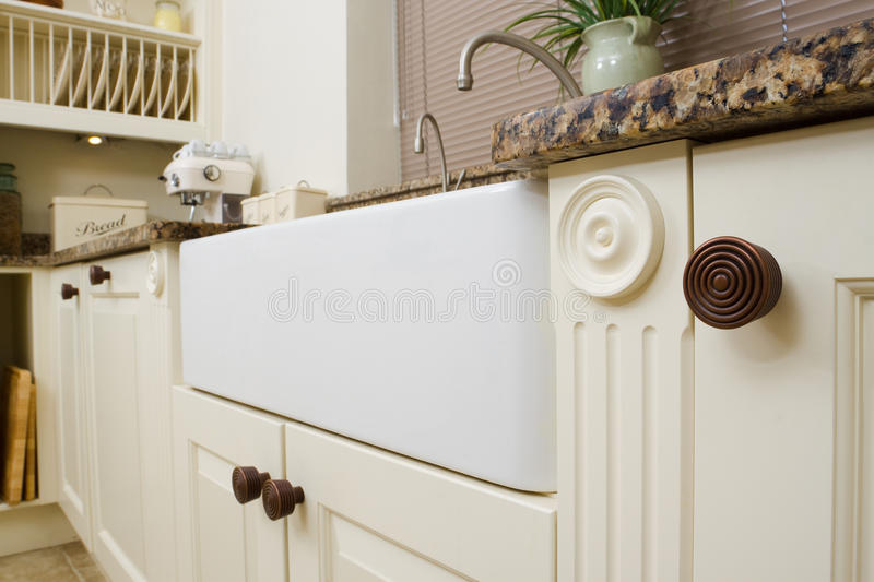 Modern kitchen sink area stock image