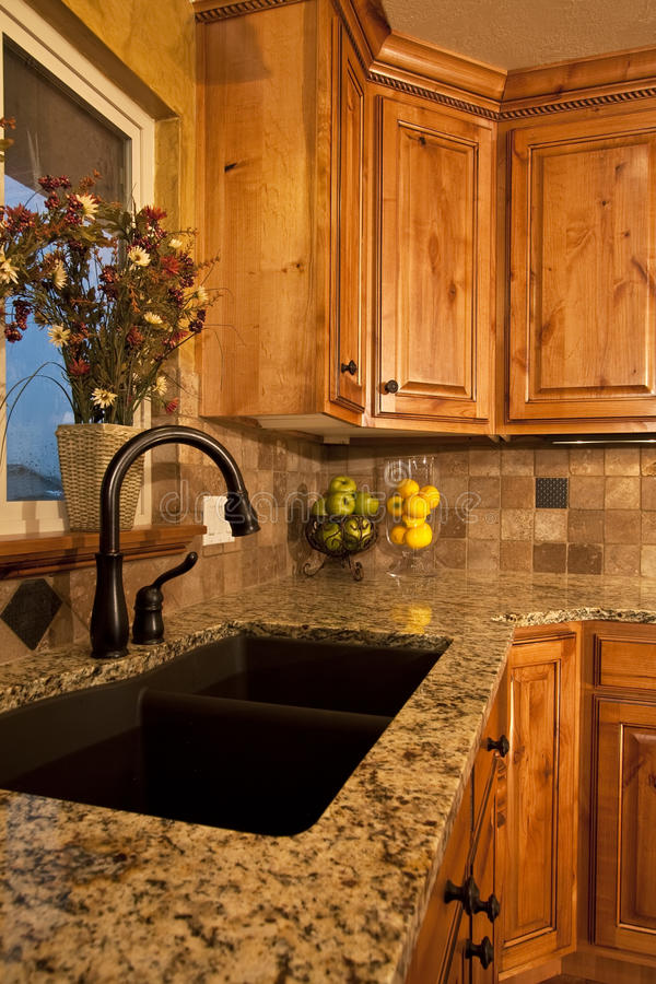 Modern Kitchen Sink and Cabinets stock image