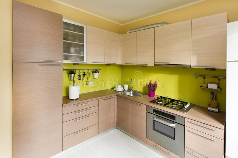 Modern kitchen, stylish interior design royalty free stock photos