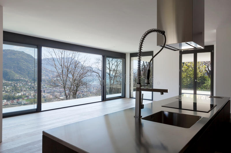 Modern kitchen with view royalty free stock photo