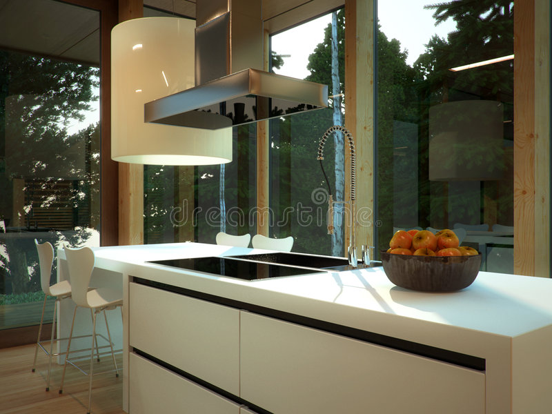 Modern Kitchen With Warmth Royalty Free Stock Photography
