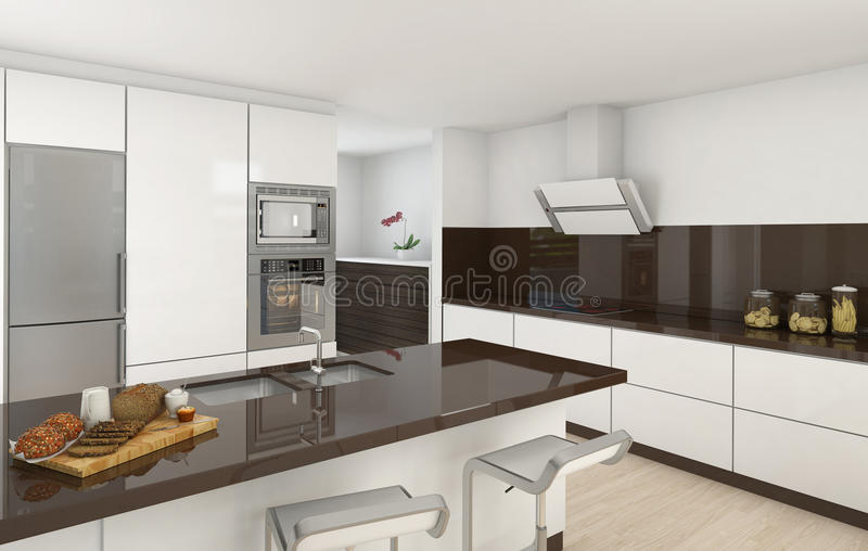 Modern kitchen white and brown stock illustration