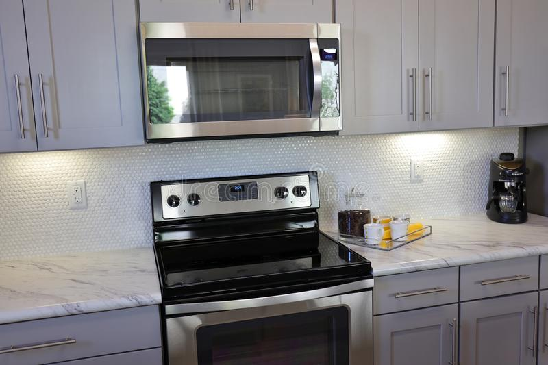 Modern Kitchen in White stock photo
