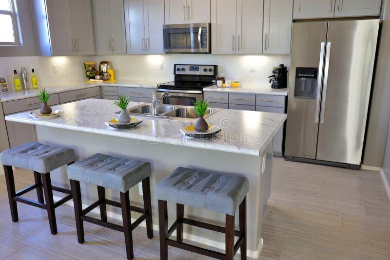 Modern Kitchen in White royalty free stock image