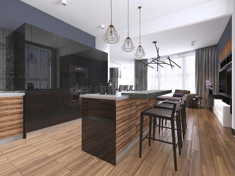 Modern kitchen with wood and gloss black kitchen cabinets, kitchen island with bar stools, stone countertops, built-in appliances. 3d rendering royalty free illustration