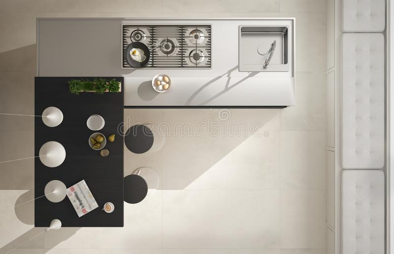 Kitchen Top View : Modern kitchen with wooden details top view on island and