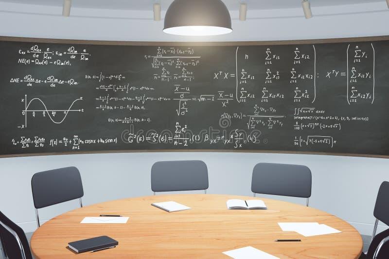 Modern Klaslokaal Met Meubilair En Bord Met Vergelijkingen