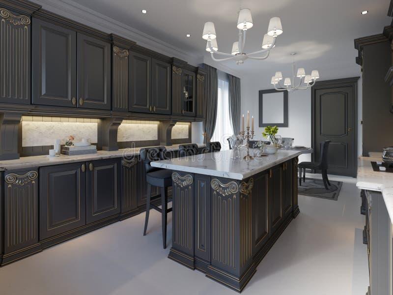 Modern klassiek keukenontwerp met zwarte kabinetten en wit marmer worktop en vloer royalty-vrije illustratie