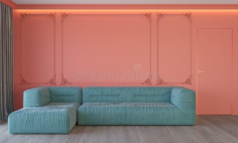 Modern klassisk bosatt korallinre med dörren och gardiner för golv för trä för blått tak för soffaväggstöpningar den bakbelysta royaltyfri illustrationer