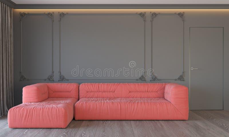 Modern klassisk grå inre med att bo dörren och gardiner för golv för trä för tak för stöpningar för korallsoffavägg den bakbelyst stock illustrationer
