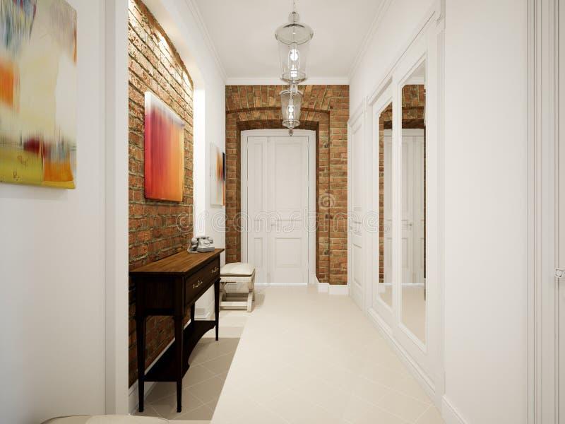 Modern klassisk Hall Hallway Corridor In Old tappninglägenhet stock illustrationer