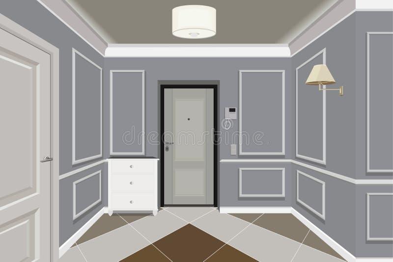 Modern klassisk Hall Hallway Corridor In Old tappninglägenhet Hallillustration vektor illustrationer