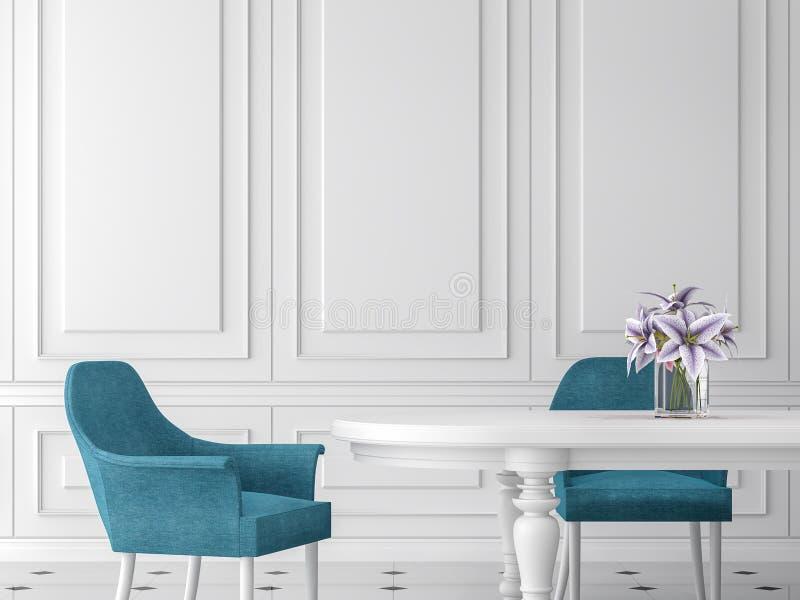 Modern klassisk matsal 3d framför, möblerade med den vit tabellen och blåttstol stock illustrationer