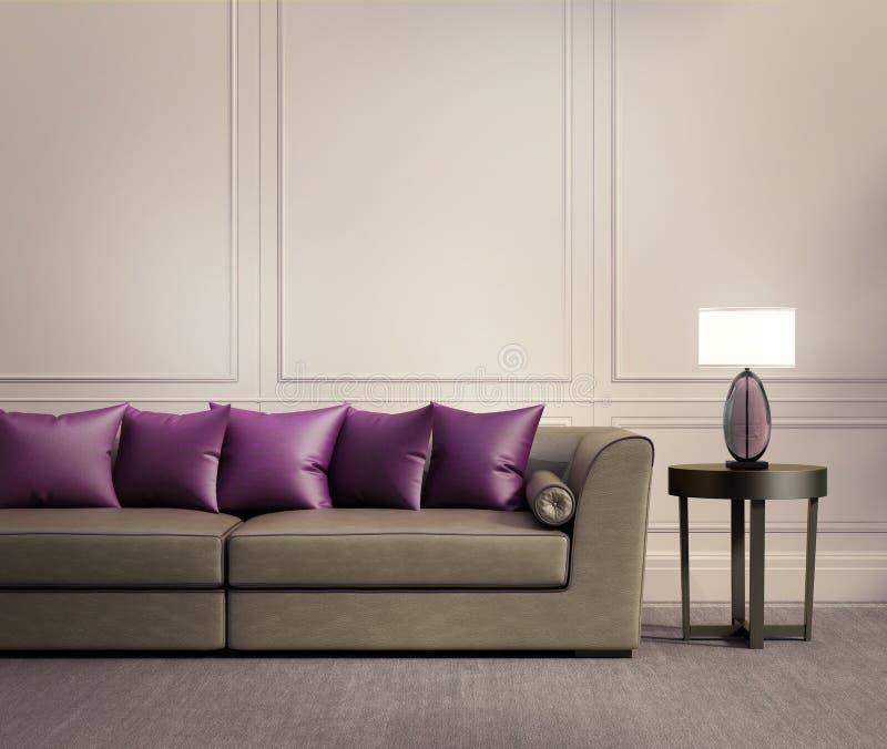Modern klassisk vardagsrum, beige lädersoffa royaltyfri bild