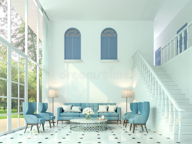 Modern klassisk vardagsrum 3d framför, finns det vitt rum och trappa upp till övregolvet stock illustrationer