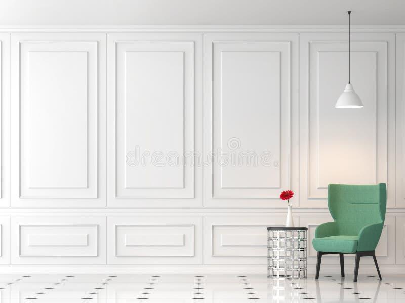 Modern klassisk vardagsrum 3d framför, möblerade med grön tygstol royaltyfri illustrationer