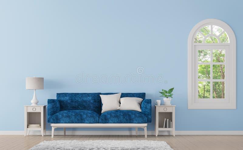 Modern klassisk vardagsrum med bild för tolkning för blåttfärg 3d royaltyfri illustrationer