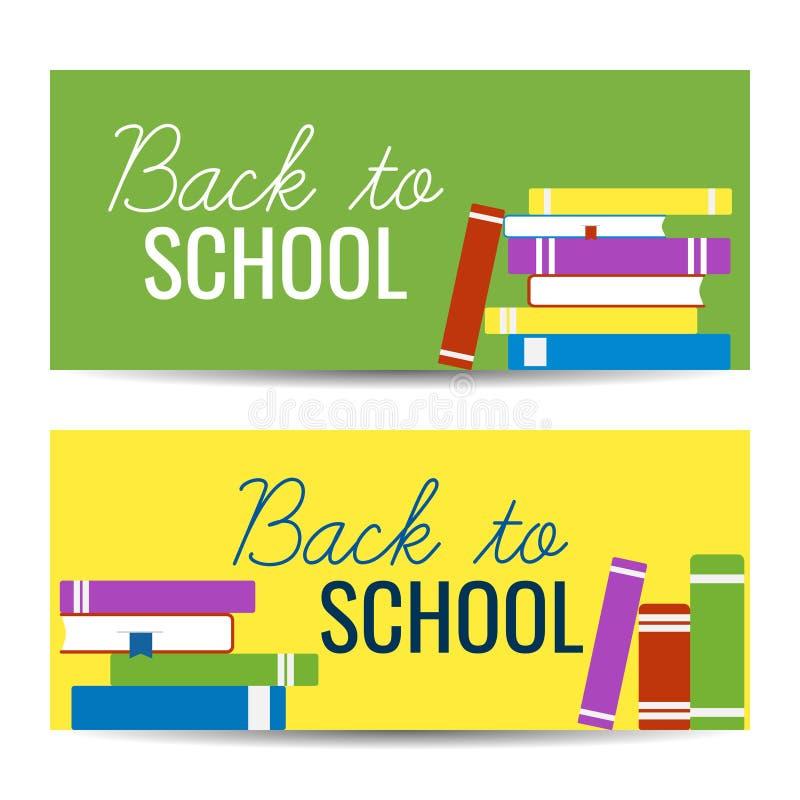 Modern kleurrijk horizontaal bannersmalplaatje met stapel boeken en terug naar Schooltekst stock illustratie